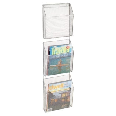 Silver Mesh 3-pocket Wall Organizer