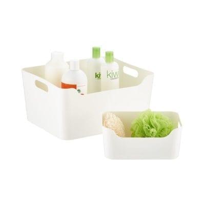 White Storage Bins with Handles