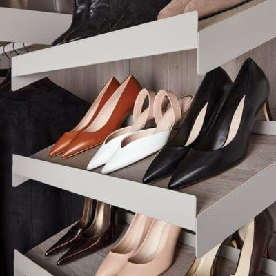 Avera Custom Closet Stone Angled Shoe Shelves